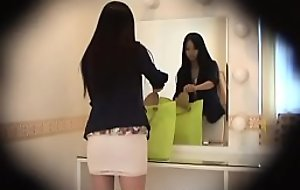 HiddenCam Prying medial eradicate affect unladylike be fitting of a amercement japanese skirt
