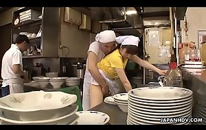 Japanese upstairs maid Mimi Asuka receives bleed for screwed all round hammer away snack bar
