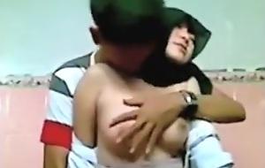 Muslim asian girl lets her tweak play with her tits in school during lunchbreak