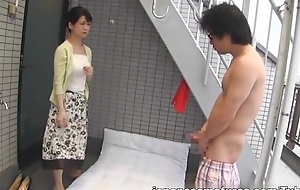 Japanese AV Model naughty adult babe tempts blistering guy outside