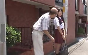 young jap schoolgirl is seduced by old alms-man in bus
