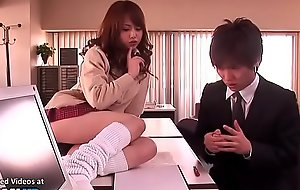 Japanese sex-crazed college generalized provokes young teacher