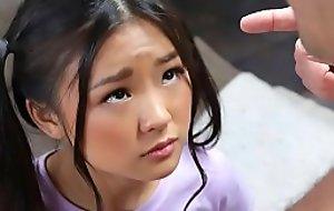 Tiny oriental schoolgirl gets caught messing around