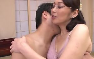 Japanese girl with glasses gets fucked balls deep