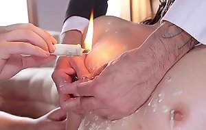 Teen sub waxed increased by fucked in trio