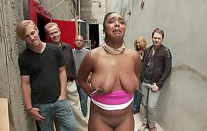 Consequential boobs ebony drilled in back alley