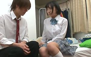 Japanese schoolgirl sexually aroused by practice of hug 01