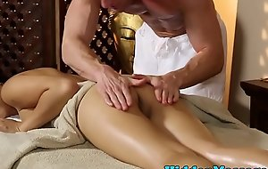 Smalltits oriental infant team-fucked by way of rub down